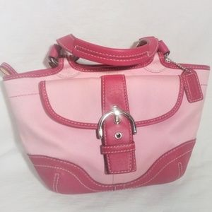 Coach Hobo Tote Pink M043-1881 EUC Pink Canvas